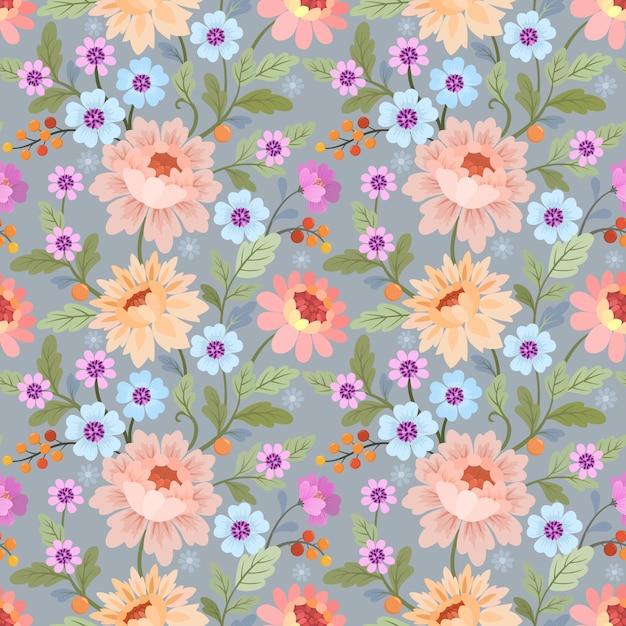色とりどりの花でシームレスなパターンは、織物の壁紙をベクトルします。 Premiumベクター