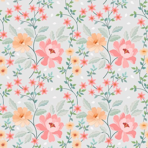 ファッションプリント、ラッピング、テキスタイル、紙、壁紙のためのシームレスなカラフルな花ベクトル。 Premiumベクター