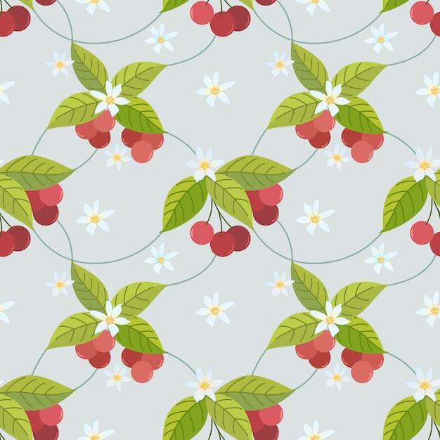 Симпатичные вишни бесшовные модели можно использовать для ткани, текстиля, упаковки, обоев, Premium векторы