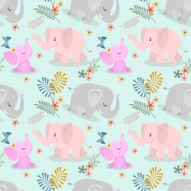 Милая семья слонов и бабочка бесшовный фон Premium векторы