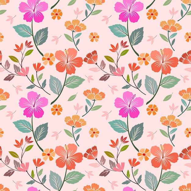 色とりどりの花のシームレスなパターンベクトルデザイン。ファブリックテキスタイルの壁紙に使用できます。 Premiumベクター
