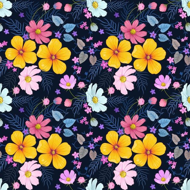 カラフルな手描きの花のシームレスなパターンベクトルデザイン。 Premiumベクター