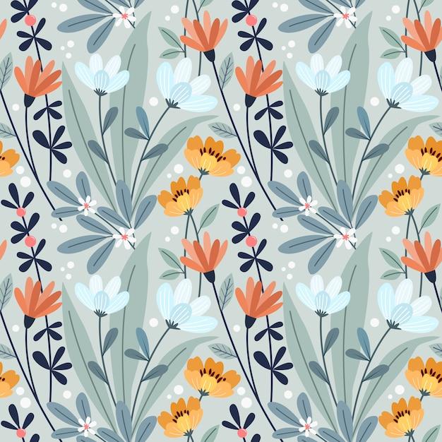 カラフルな手描きの花のシームレスパターン Premiumベクター