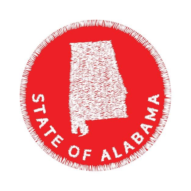 アラバマ州の地図の刺繍状態 Premiumベクター