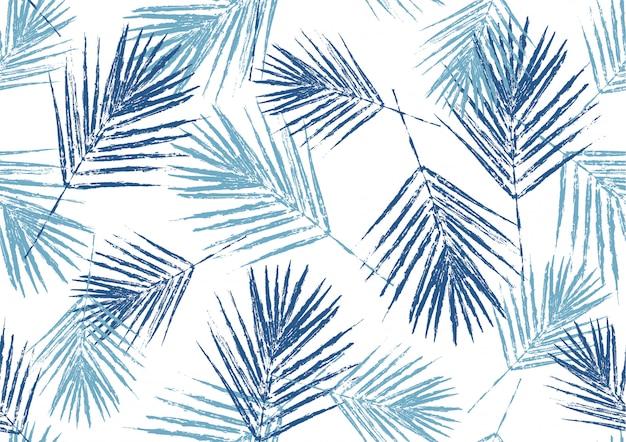 自然の青いヤシの葉のスタンプ Premiumベクター