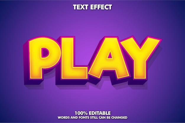プレイワード付きの強力なゲームスタイルのテキストエフェクト Premiumベクター