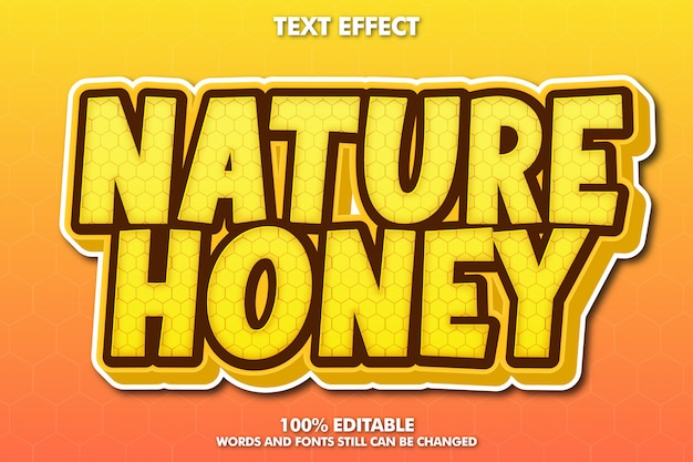 自然蜂蜜テキスト効果 無料ベクター
