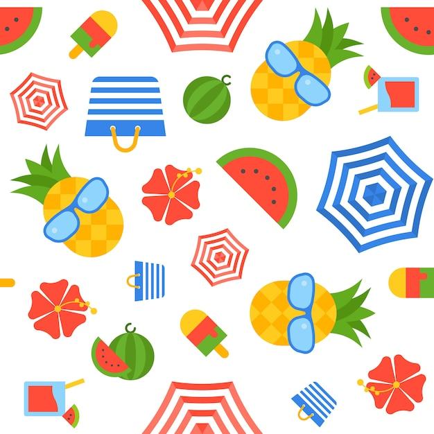 夏のテーマシームレスパターンベクトル Premiumベクター