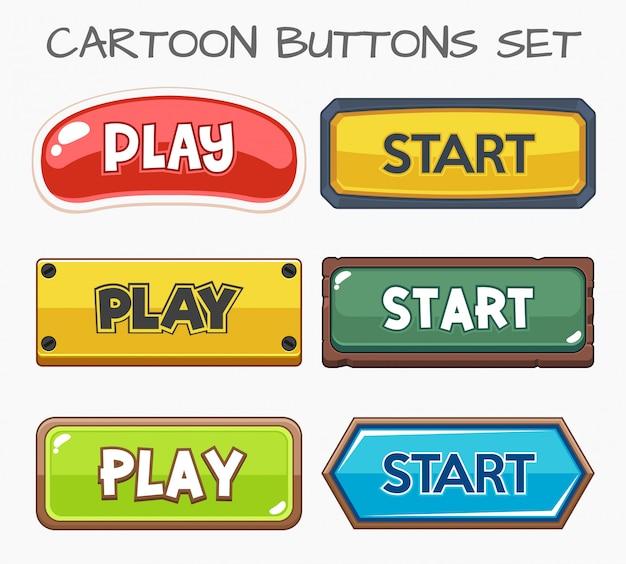 漫画のボタンはゲームを設定します。 Premiumベクター