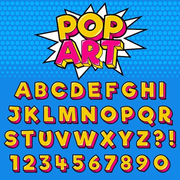 数字のアルファベット文字ポップアートスタイルデザイン Premiumベクター