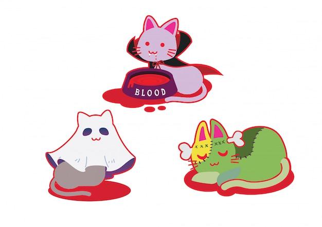 猫ハロウィンコスチュームフェスティバル Premiumベクター