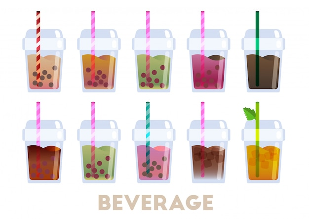 飲料コーヒーとバブルティーのベクトル Premiumベクター
