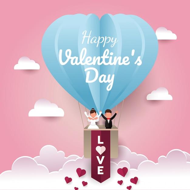 バレンタインデーの紙カットカード。空に気球で幸せな結婚式のカップル Premiumベクター