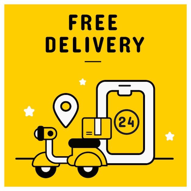 オンラインショッピングの概念から無料配信バナー Premiumベクター