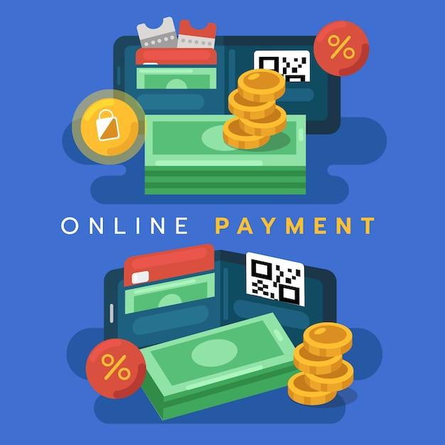 デジタル財布のコンセプト。モバイルでのオンライン支払い Premiumベクター