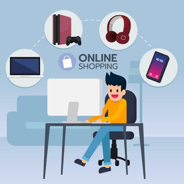 Молодой человек ищет и покупает электронный товар из электронной коммерции Premium векторы