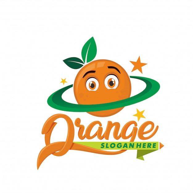 Планета оранжевый логотип талисман Premium векторы