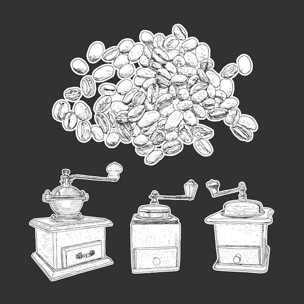 コーヒーミルセットとコーヒー豆の分離ベクトル。 Premiumベクター