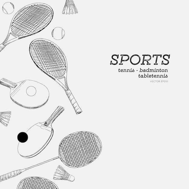 スポーツハンドドロースケッチベクトルのセット。バドミントン、テニス、卓球、スポーツベクトル Premiumベクター