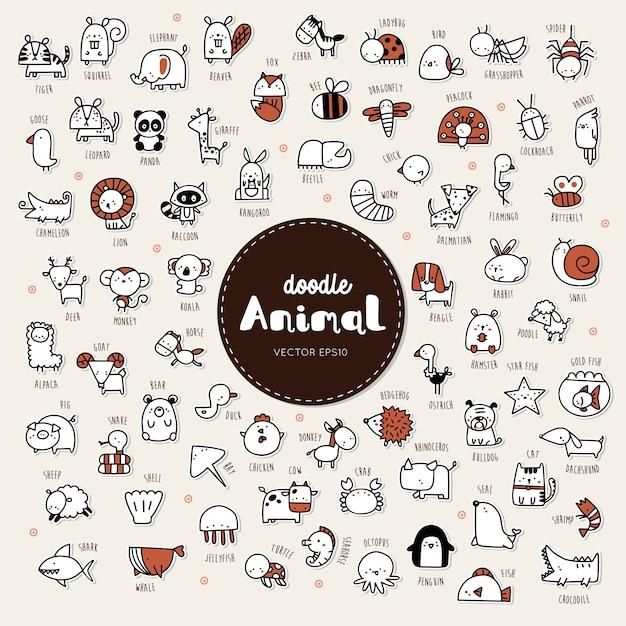 手描きのコレクション動物のアイコンのゴージャスなスタイル。 Premiumベクター