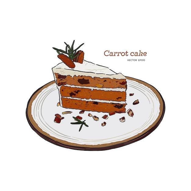 Морковный пирог с грецкими орехами, черносливом и курагой рисованной эскиз Premium векторы