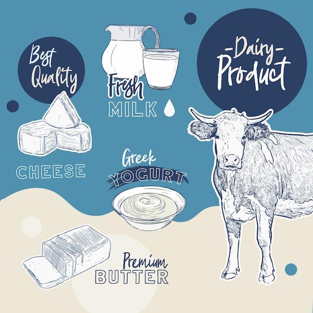Коллекция молочных продуктов. корова, молочные продукты, сыр, масло сливочное, сметана, творог, йогурт Premium векторы