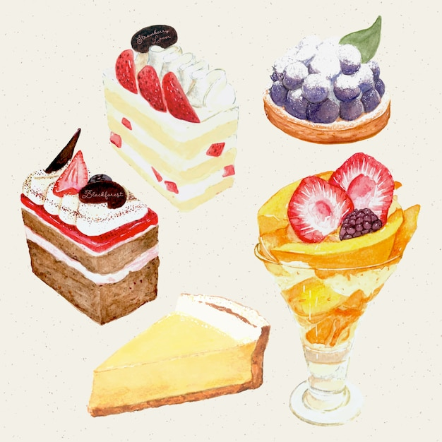 Акварель ручной росписью сладкий и вкусный торт. торт, пирог, сырный торт, парфе Premium векторы