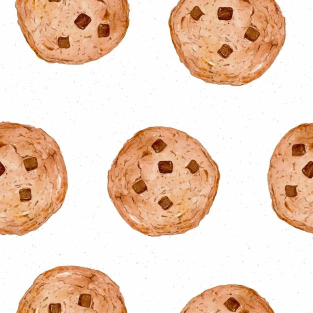 クッキーのシームレスなパターン、手描きスケッチ水の色。 Premiumベクター
