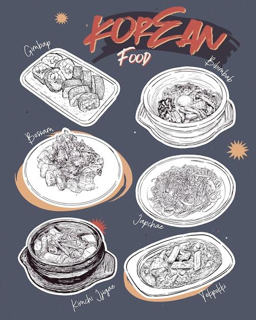 韓国料理のレストラン。韓国料理スケッチメニュー。 Premiumベクター
