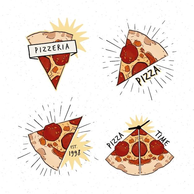 ピッツェリアのロゴタイプセット。ピザのスライスと碑文と異なるロゴのコレクション Premiumベクター