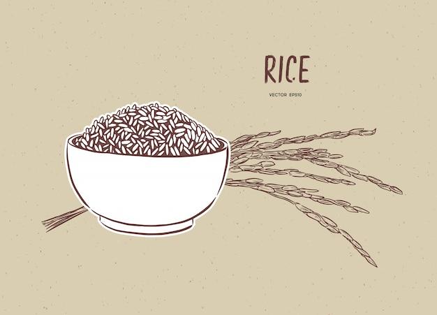 Вектор риса в миску с рисовой веткой Premium векторы