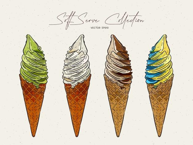 ソフトクリームアイスクリームコレクション手描きスケッチ Premiumベクター