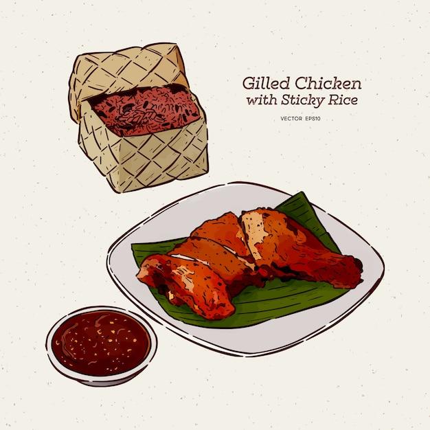 Курица гриль с клейким рисом, эскиз рисованной руки Premium векторы