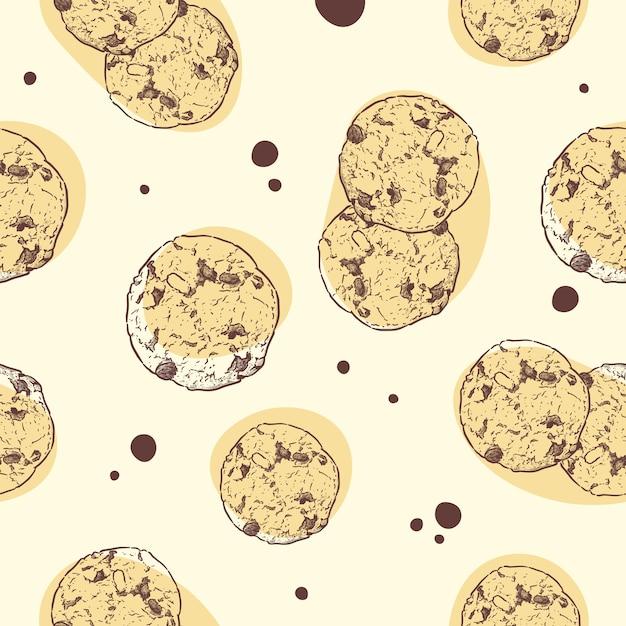 Шоколадное печенье, бесшовные модели. Premium векторы