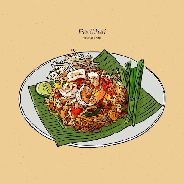 料理の麺パタイ料理タイ。手描きスケッチ。 Premiumベクター