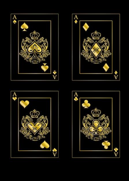 エースのカードを使ったイラスト。 Premiumベクター