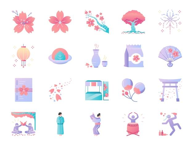 桜祭りの色アイコンセット。 Premiumベクター