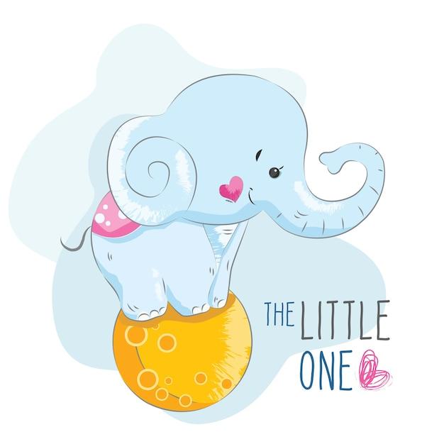 月のボールに立っている赤ちゃんの象 Premiumベクター