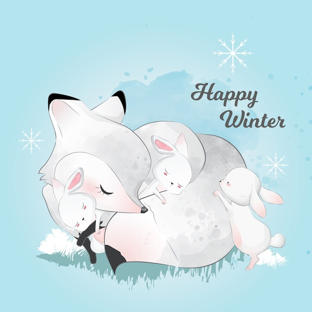白い冬の狐と友人は冬に眠っている Premiumベクター