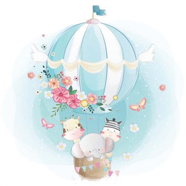 Милые животные на воздушном шаре Premium векторы
