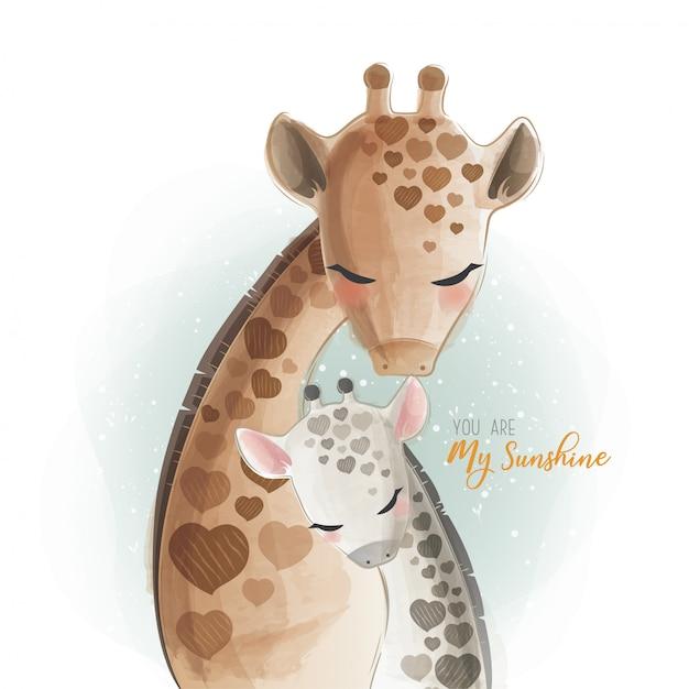 Мама и малыш жираф - ты мое солнце Premium векторы