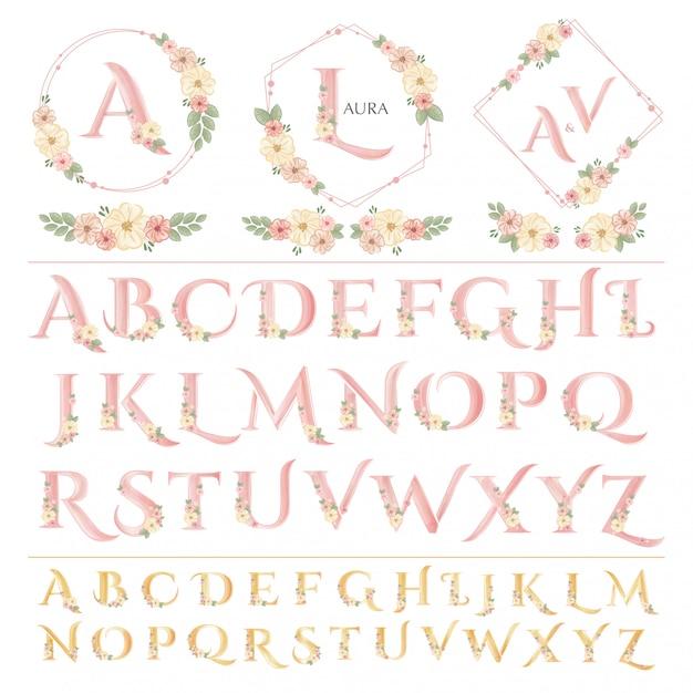 Цветочные свадебные надписи Premium векторы