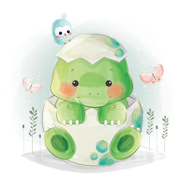 Милый ребенок дино в красочном яйце Premium векторы