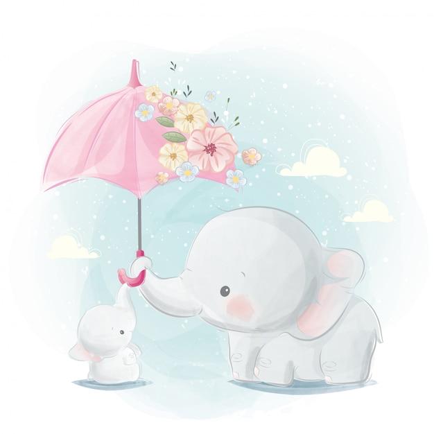 かわいいママと象の赤ちゃん Premiumベクター