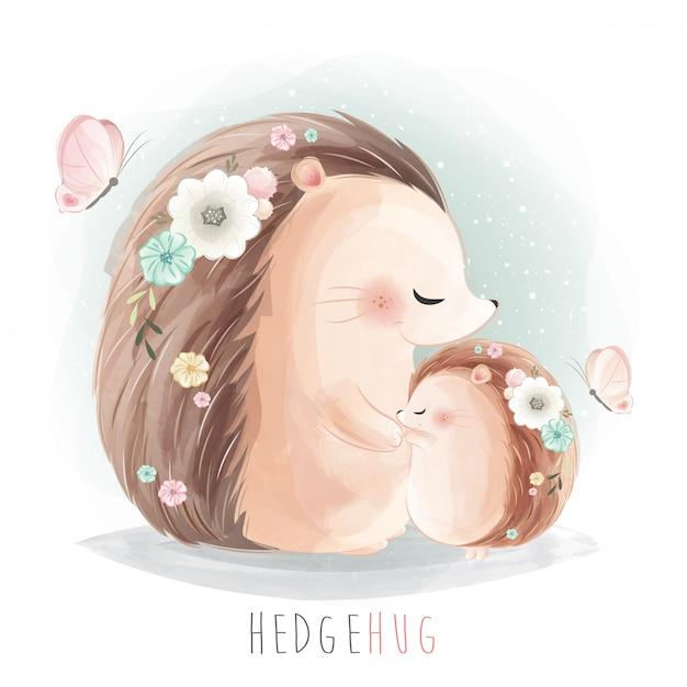 一緒に抱いてママと赤ちゃんハリネズミ Premiumベクター