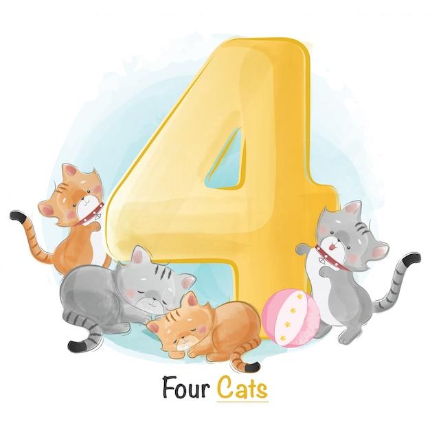 Симпатичная нумерация животных для детей Premium векторы