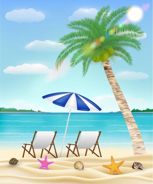 Расслабиться на пляже на пляже с морским песком Premium векторы