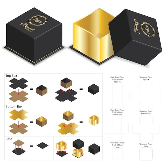 ディーラインとの製品モックアップ用の贅沢なリジッドボックス Premiumベクター
