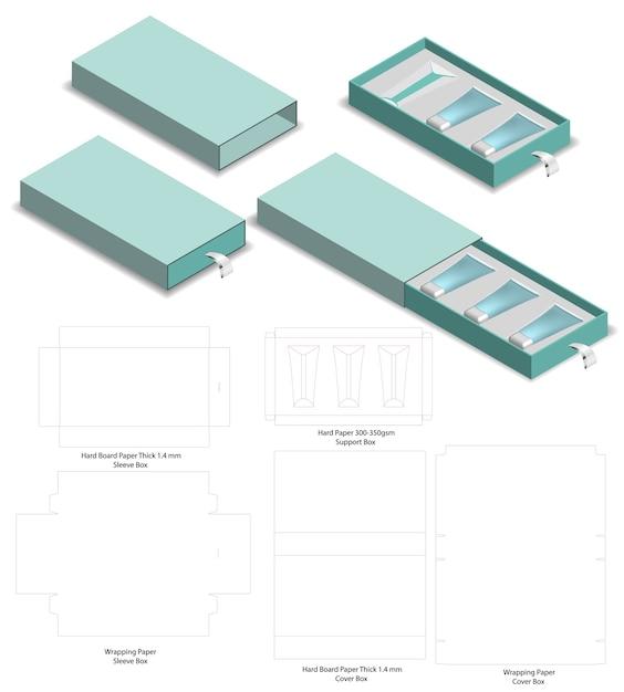 硬質スリーブボックスのダイカットモックアップテンプレートベクトル Premiumベクター