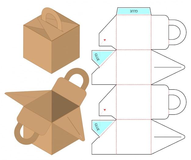 Коробка упаковочная вырубная дизайн шаблона Premium векторы